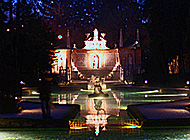 Hellbrunn trick fountains at night